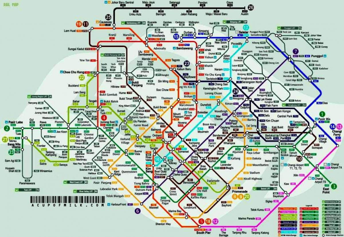 Singapore mrt and lrt map
