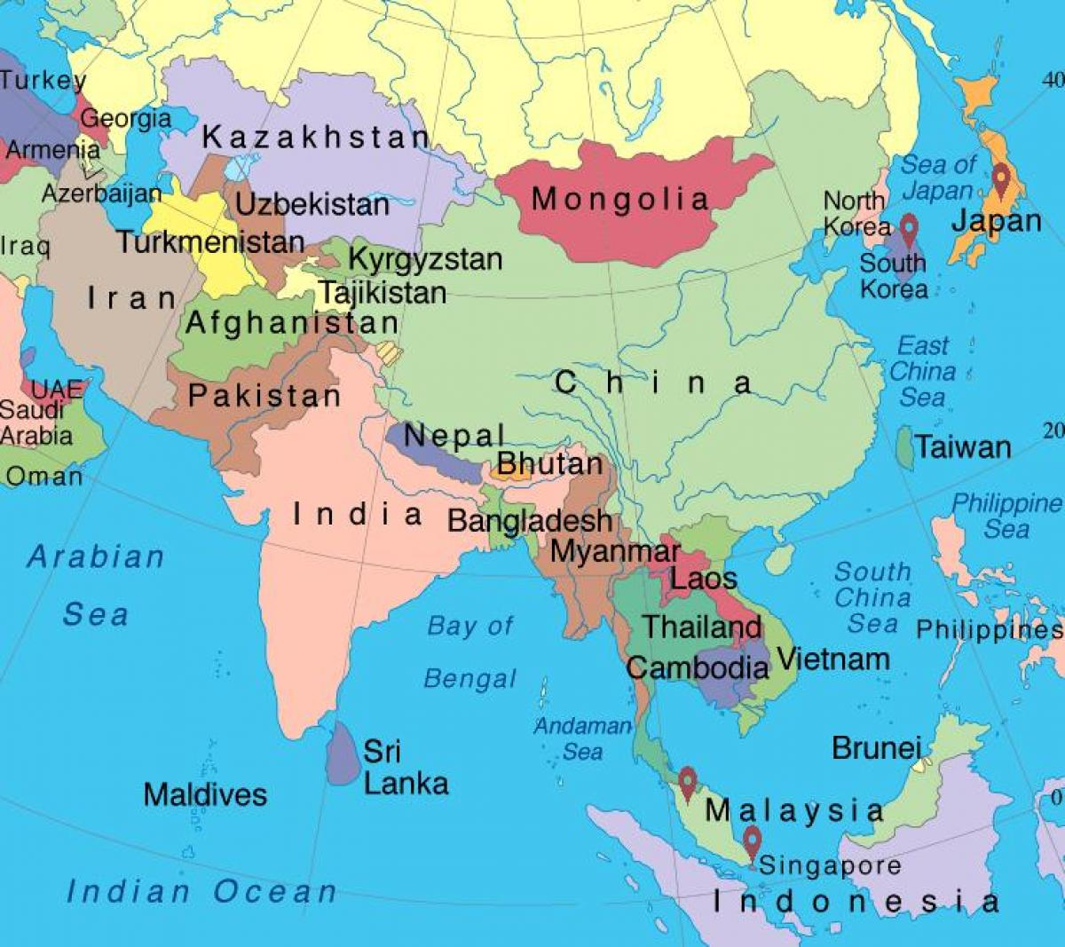 Map of Singapore in asia map - Map of map of Singapore in asia ...
